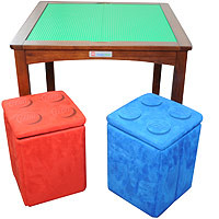 Imaginarium Table with 2 Storage Ottomans - Espresso