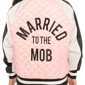 The Chine White Bomber in Pink