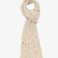Fringed Cable Knit Scarf