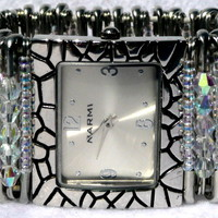 SPSW01 Safety Pin Swarovski Crystal and Seed Bead Watch