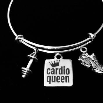 Cardio Queen Jewelry Adjustable Bracelet Expandable Silver Charm Bangle Trendy Weights Tennis Shoe Exercise Workout One Size Fits All Gift