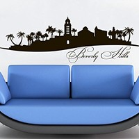 Beverly Hills Skyline Wall Decal Vinyl Sticker City Silhouette Decals Vinyl Stickers Home Decor Living Room Office Bedroom Wall Art C586