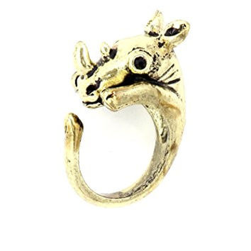 Rhinoceros Wrap Ring Gold Tone African Safari Rhino RL70 Animal Fashion Jewelry