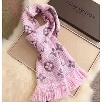 LV Louis vuitton gold silk women trend exquisite knitting wool scarf shawl special cabinet F-XLL-WJ light pink