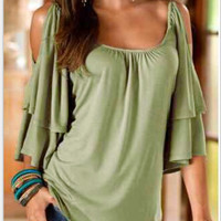 Green Cut-Out Shoulder Casual Top