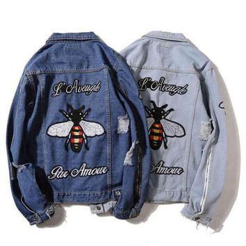CREYV9O GUCCI Fashion Bee Tiger Embroidery Distressed Denim Cardigan Jacket Coat