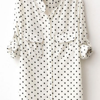 Polka Double Pocket Long Sleeve Blouse