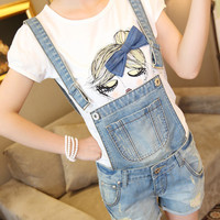 Women Girls Casual Vintage Frayed ripped hole Wash Denim Overall Suspender Jean Pants Cute denim Shorts