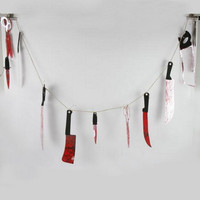 12 Pcs/Set Halloween Props Bloody Plastic Knife Hanging Ornaments Bloody Weapons Garland Prop Horror Halloween Party Decoration