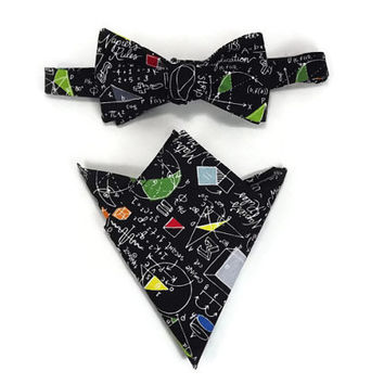 Math Equations Pocket Square and Bowtie, math equations on black, geometry bowtie, mathmatics teacher,  pi pocket square, math gift
