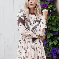 Free People Womens From Your Heart Printed Mini Dress