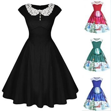 Women's Classy Vintage Audrey Hepburn Style 1940's Rockabilly Evening Dress Solid Color Party Dress