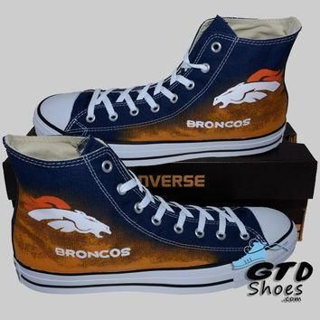 hand painted converse hi denver broncos football superbowl handpainted shoes