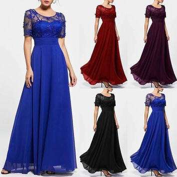 2018 New Fashion Womens Floral Lace Empire Waist Evening Dress Lady Elegant Short Sleeve Solid Color Ball Gown Swing Long Maxi D