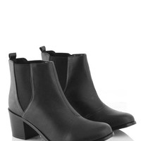 Elisha PU Block Heeled Chelsea Boot in Black