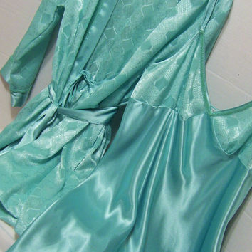 Short Peignoir Set Robe and Night Gown Warm Aqua Green Resort Cruise Wear Honeymoon