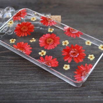 Red pressed flowers case 100% handmade For iPhone 4 by XTime on Zibbet