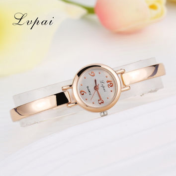 Lvpai 2017 Top Brand Luxury Watch Women Dress Bracelet Watch Fashion Crystal Quartz Wristwatch Classic Gold Ladies Casual Watch