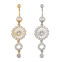Fashion Beauty Gold Silver Round Crystal Rhinestone Dangle Button Bar Navel Belly Ring Jewelry = 1645644676