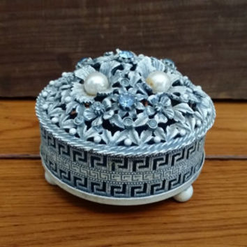 Vintage Ornate Round Metal Jeweled Trinket Box Dresser Jar With Silver Lid Perfect for Jewelry Storage Gift Giving Proposal