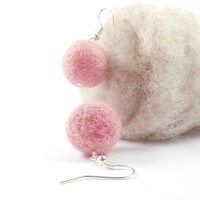 Needle Felted Earrings Pink Bubblegum Natural Fiber Jewelry Pure Wool Felt