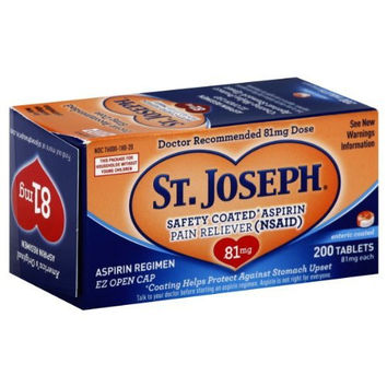 St. Joseph Safety Coated Aspirin Pain Reliever 81Mg Tablets - 200 Ea