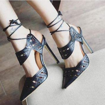 Cut Out Stiletto Heel Pointed Toe Ankle Strap High Heel Sandals