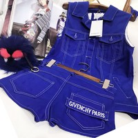 Givenchy Fashion Women Men Cowboy Blue Vest Shorts Jeans Two Piece Suit