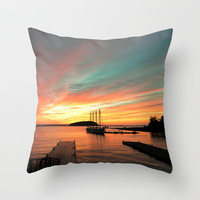 Autumn Sunrise Bar Harbor maine Throw Pillow by Wood-n-Images