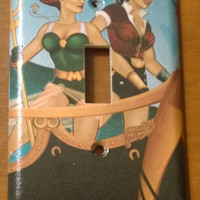 Bombshells Mera Wonder Woman comic decoupage light switch cover