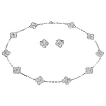 Van Cleef & Arpels Diamond Alhambra Necklace and Earrings