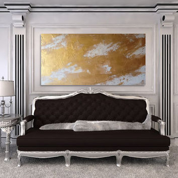 SOLD! Custom Art Custom painting custom artwork White and gold painting 24x48 Metal wall art glam painting Gold wall art very large art
