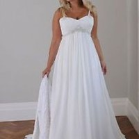 White/Ivory Chiffon Country Plus Size Wedding Dresses Custom Size 20 22 24 26 28