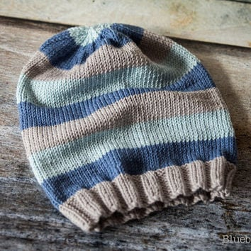 Luxury Striped Slouch Beanie Hat - Merino Wool/Cashmere - Slate, Denim, Light Blue - Choose Size - Adult, Children, Toddler, Baby