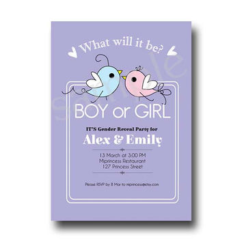 Bird Boy Or Girl Gender Reveal Invitation / boy or girl announcement Party / baby BIRD Chalkboard - card 98