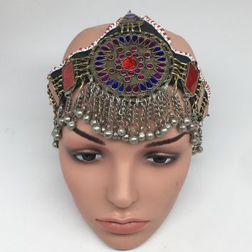Kuchi Headdress Headpiece Afghan Ethnic Tribal Jingle Alpaca Silver Glass,CK636