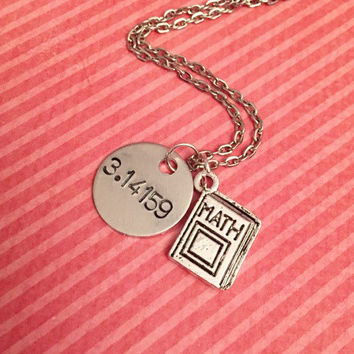 Pi - 3.14159 Math Book Necklace - Math Jewelry - Math Geek Jewelry - Nerd Jewelry - Hand Stamped Jewelry