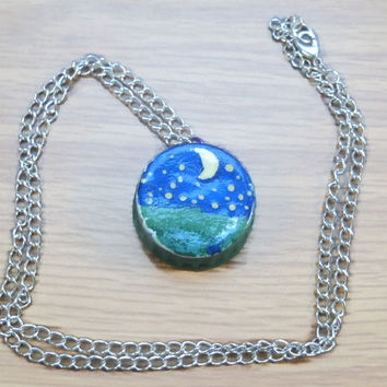Starry Night BottleCap Necklace, Upcycled Necklace, Scenery Necklace