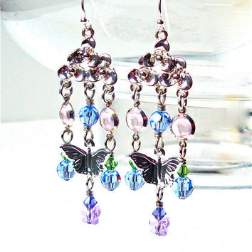 Pastel crystal and butterfly silver chandelier earrings - long dangly crystal chandelier earrings - spring earrings by Sparkle City Jewelry