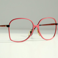 giant 70s pink metal glasses1970 mod style bugeye frame super chic Sanford Hutton Colors in Optics Italy