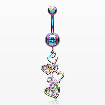Rainbow Sparkling Heart Cluster Belly Button Ring