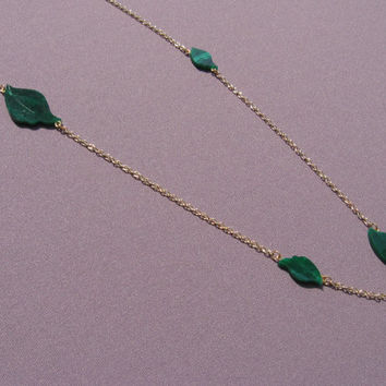 Hand Cut Long Green Leaf Necklace