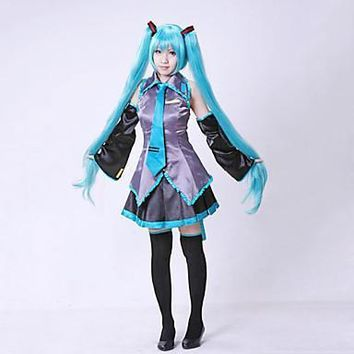 Halloween Blue Cotton Vocaloid Hatsune Miku Dresses Cosplay Costume without Wig