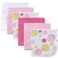 Luvable Friends 6 Pack Washcloths, Pink