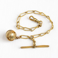 Pocket Watch Chain - Antique Victorian Yellow Gold Filled Spherical Fob Jewelry - Vintage 1880s Teal Blue Gem Pendant Charm Men's Accessory