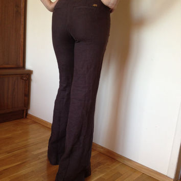 MISS SIXTY Deadstock Slim Bootcut LINEN Low rise Brown Womens pants, unworn, with tags. Size 23 25 27 29 30 31