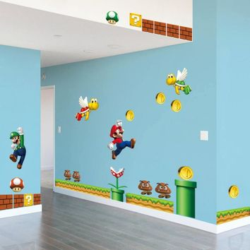 Super Mario party nes switch On Sale New  Bros PVC Wall Sticker decals Home Decor For Kids Baby Room Decor AT_80_8