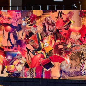 "Abstract Vintage Original ART ""Hot Like Fire"" Wall Accent, 24"" x 48"", Wood, Collage, Sealed in High Quality Epoxy Resin"