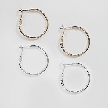 ASOS DESIGN two pack simple hoop earrings at asos.com