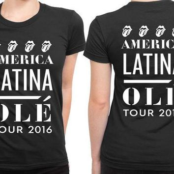 DCCKL83 The Rolling Stones America Latina Ole Tour 2 Sided Womens T Shirt
